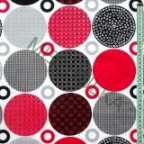 Velká kolečka se vzorem š.220 cm - červeno-šedá látka - dekorační metráž  empty dc25f09a70a