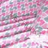 Bavlněný úplet - jednolícní látka - metráž - Srdce růžovo-šedé - bílá empty 00117ebd090
