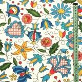 Folklor květy   lidové květiny Kaszubski - bílá látka - dekorační metráž-  bavlna empty f0c8738da41