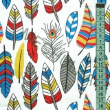 Indiánská pírka   peříčka barevná - bílá látka - dekorační metráž- bavlna  empty d8eb7d28918