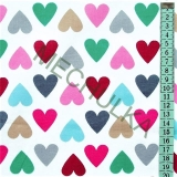 Barevná srdíčka   srdce - bílá látka - dekorační metráž - bavlna empty 686fc1222c3