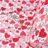 Bavlněný úplet - jednolícní látka - metráž - Srdce s puntíky malinovo-šedé  empty b4fe6ded9af