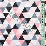 Barevné trojúhelníčky - růžovo-šedá látka - dekorační metráž - bavlna empty 26f9de6050f