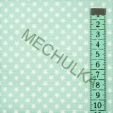 Hvězdičky mini   hvězdy bílé - bledě mentolová látka - hvězdičková metráž -  bavlna 531e66c3051