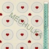 Srdce v kolečku - krémová látka - vánoční metráž - bavlna empty 621fa8450e3