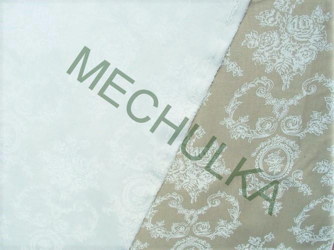 Bílý zámecký květinový ornament - bílá látka - dekorační metráž - ba 59b32c38f5f