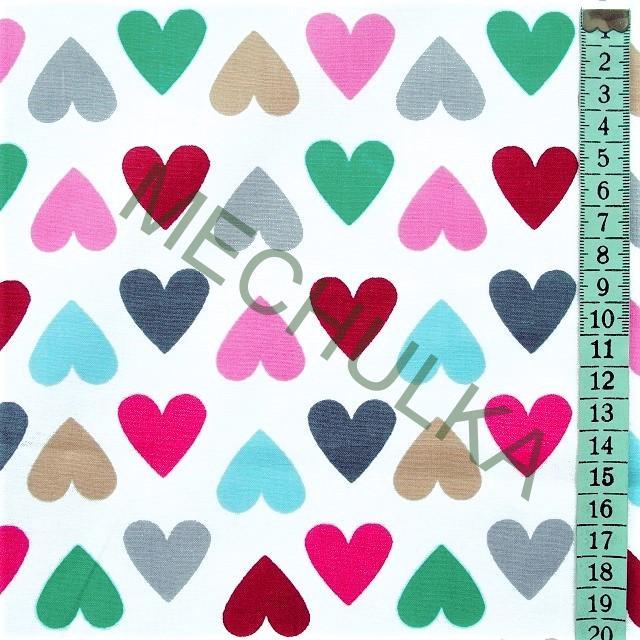 27ad01187dfc Bavlněné plátno Barevná srdce