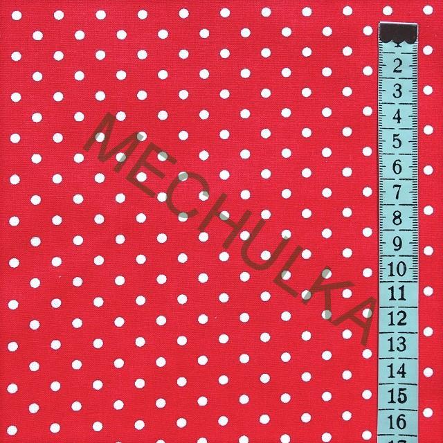 Červená s malými 4 mm puntíky - 20 METRŮ - látka - puntikatá metráž - bavlna 03f9660e553