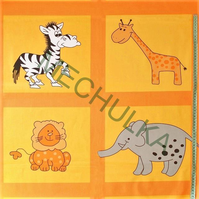 146b4243c8bb Dětské bavlněné plátno Zvířátka ZOO