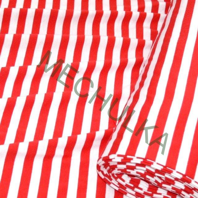Bavlněný úplet elastický- jednolícní látka -pruhovaná metráž- proužek  červený 01cf5b286d