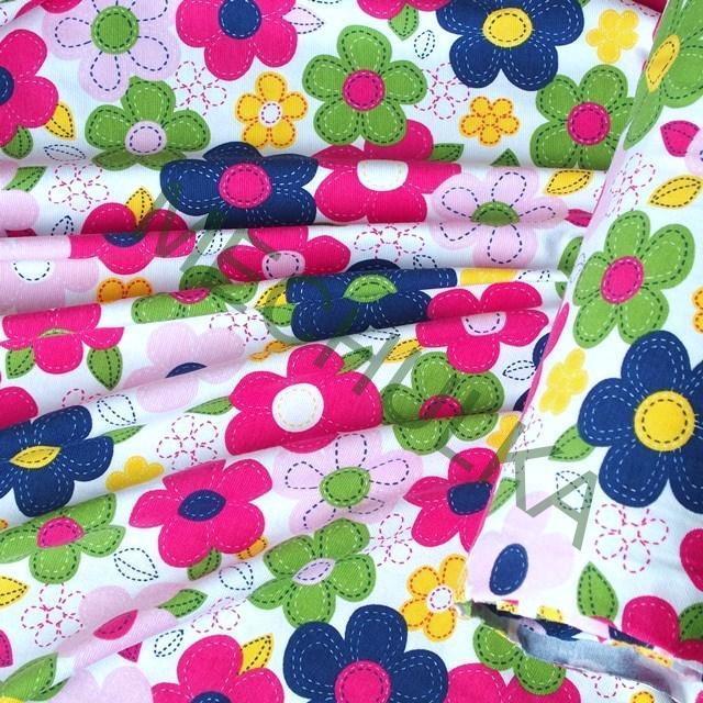 ac3c90272d86 Květy pestrobarevné elastická tričkovina jednolíc