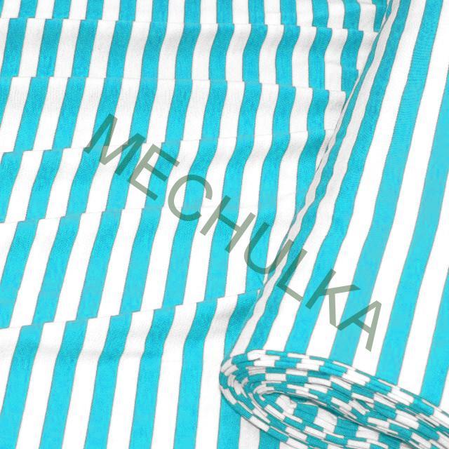 fa6172fff Tyrkysový námořnický proužek elastická tričkovina jednolíc, pruhovaný  bavlněný úplet, látka metráž