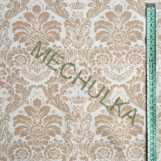 Zámecký béžový květinový ornament - bílá látka - dekorační metráž - bavlna 612cb1fd4ef