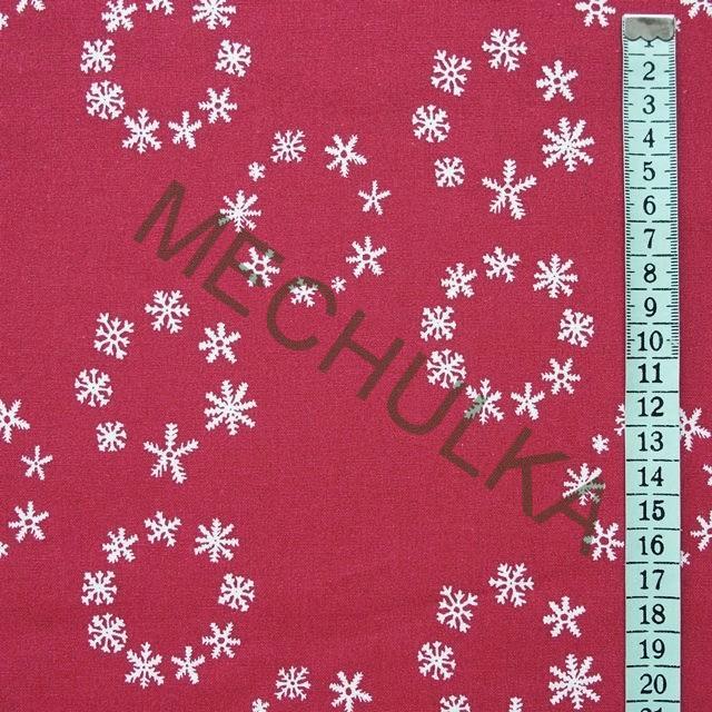 Bílé vločky v kruzích - červená látka - vánoční metráž - plátno - bavlna a85ae2e3635