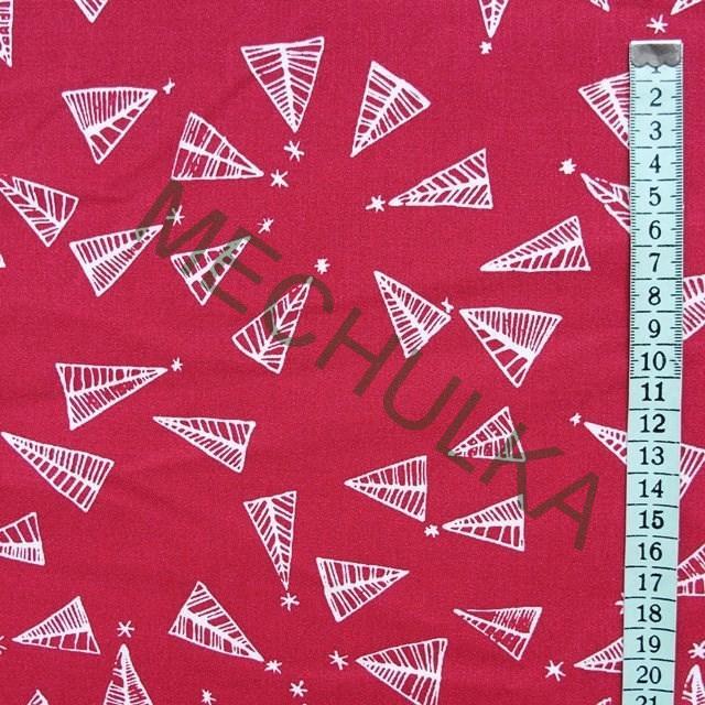 Vánoční stromky linie - červená látka - vánoční metráž - plátno - bavlna 7ffebf8985d