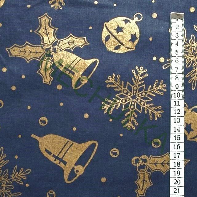 Vánoční zlaté zvonky - tmavě modrá látka - vánoční metráž - bavlna 2a426b9e1c2
