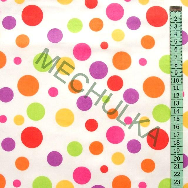 57e11698bfbb Bavlněné plátno Velké pastelové puntíky