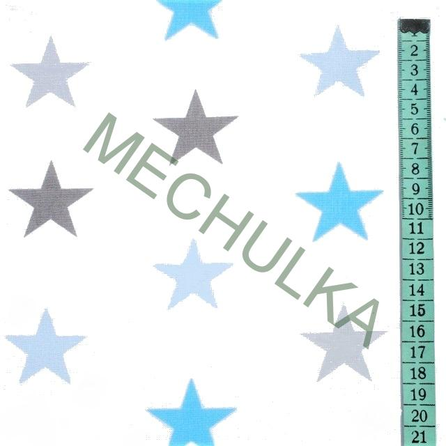 Hvězdičky   hvězdy sv.modré barevné - bílá látka - hvězdičková metráž -  bavlna 099f05631a