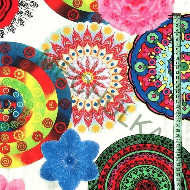 Mandaly magické barevné kruhy - bílá látka - dekorační metráž- bavlna 04a5d404f8f