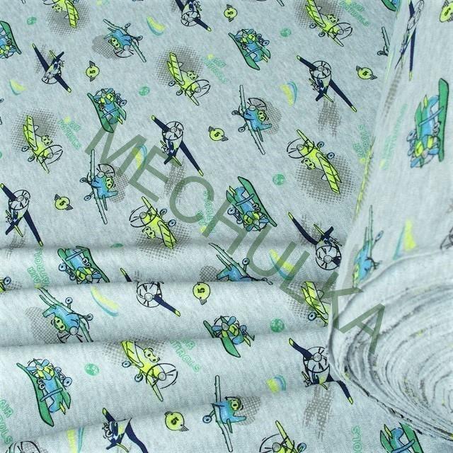 Bavlněný úplet - oboulícní látka -metráž - Letadla   Air Patrols- sv.šedý  melíír fd1e5effa5