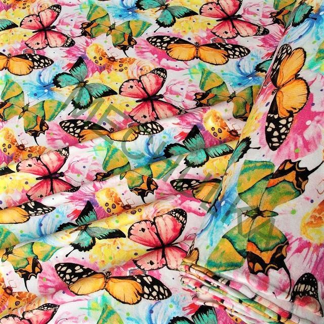 02a87498c051 Motýli na květech DIGITÁLNÍ elastická tričkovina jednolíc