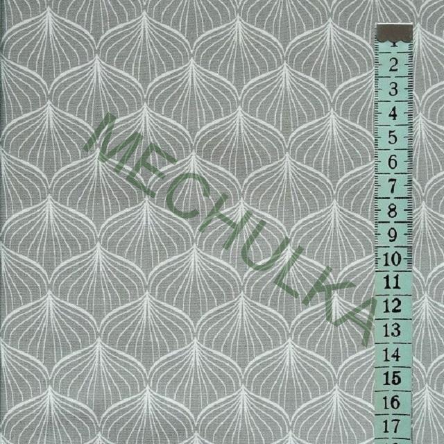 c6cbbbf7b650 Cibule   cibulky bílé - šedá látka - dekorační metráž - bavlna