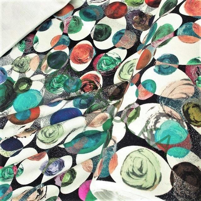 ba909b738ea6 Květy abstraktní pestrobarevné DIGITÁLNÍ elastická teplákovina nepočesaná