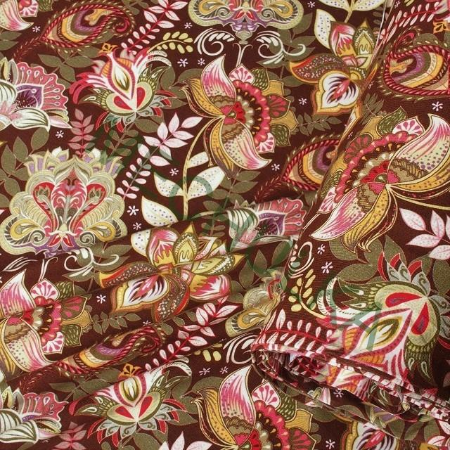 20abff6392cc Květy na hnědé DIGITÁLNÍ elastická tričkovina jednolíc