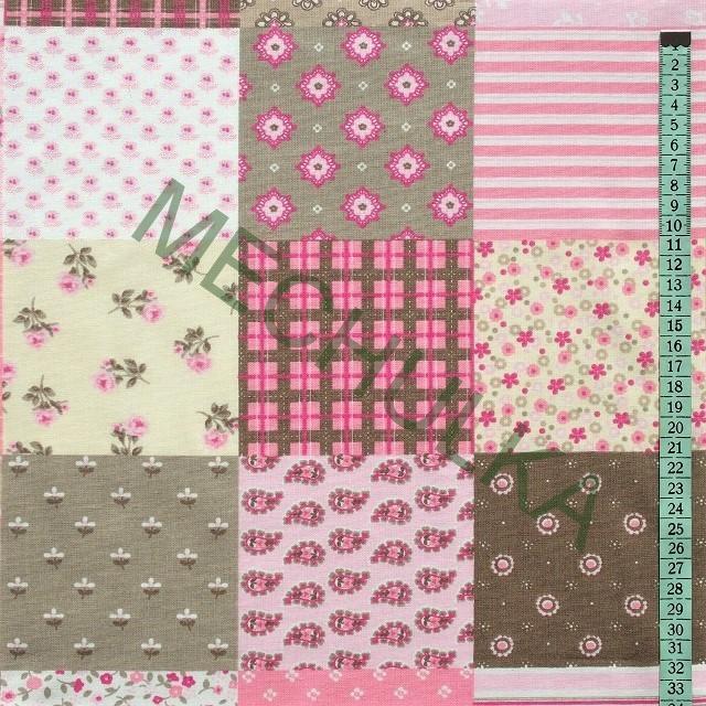 3837e80d23a6 Bavlněné plátno Květinový patchwork