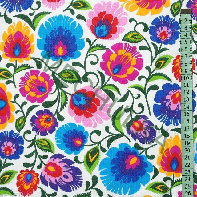 01e29ccbed1b Bavlněné plátno Folklor lidové květy Lowicz