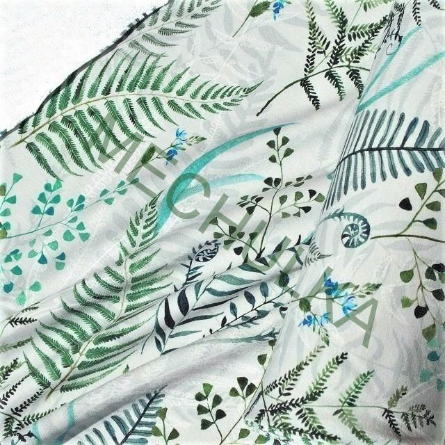 f3fadf856735 Kapradiny zeleno-šedé DIGITÁLNÍ elastická teplákovina nepočesaná ...