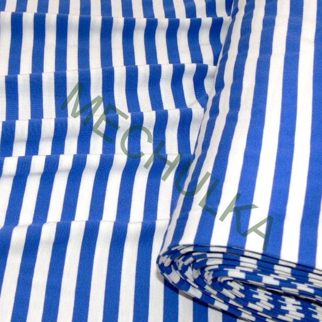 Bavlněný úplet jednolíc - látka - pruhovaná metráž - proužek námořnický  modrý a643b00780