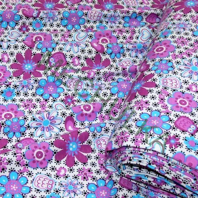 4ae73c5f75a2 Květiny a sovy tričkovina jednolíc