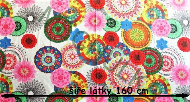 Mandaly magické barevné kruhy - bílá látka - dekorační metráž- bavlna 18112502440