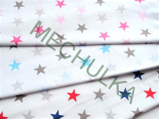 Hvězdičky   hvězdy sv.modré barevné - bílá látka - hvězdičková metráž aa9b92d0d4